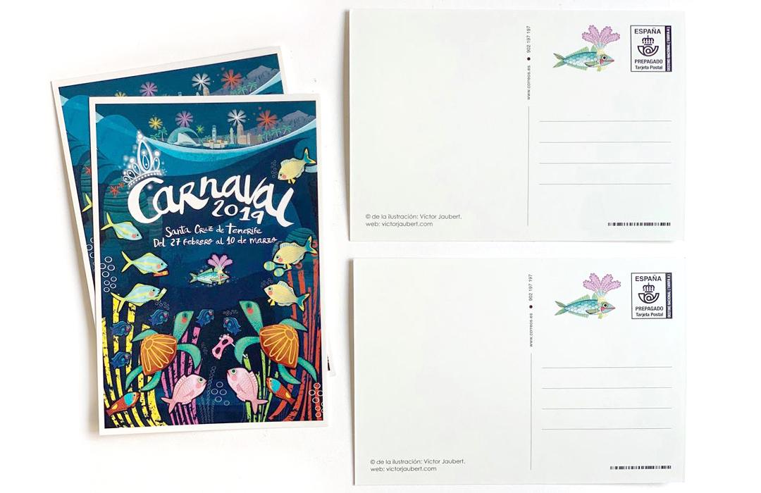 Colaboración con Correos, edición limitada, representando al carnaval de Canarias