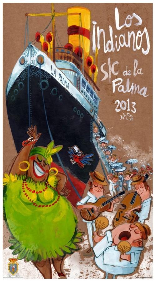 """Cartel anunciador """"Los Indianos"""". S/C de La Palma 2013"""