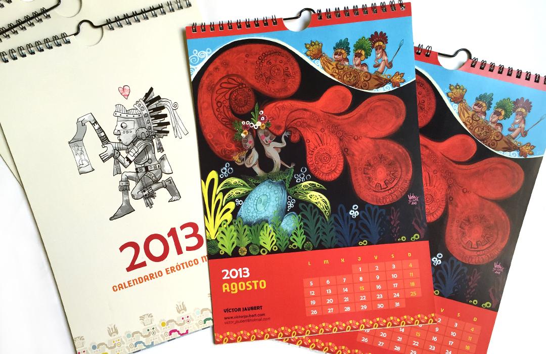 Colaboración, Calendario Maya 2013. Ilustración para el mes de agosto