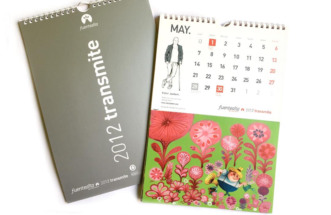 """Colaboración en el calendario """"fuente alta"""", 2012. Ilustración para el mes de mayo ."""