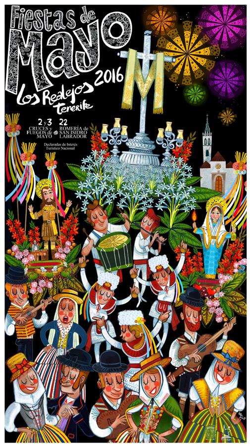 """Cartel anunciador """"Fiestas de Mayo"""". Los Realejos 2016"""